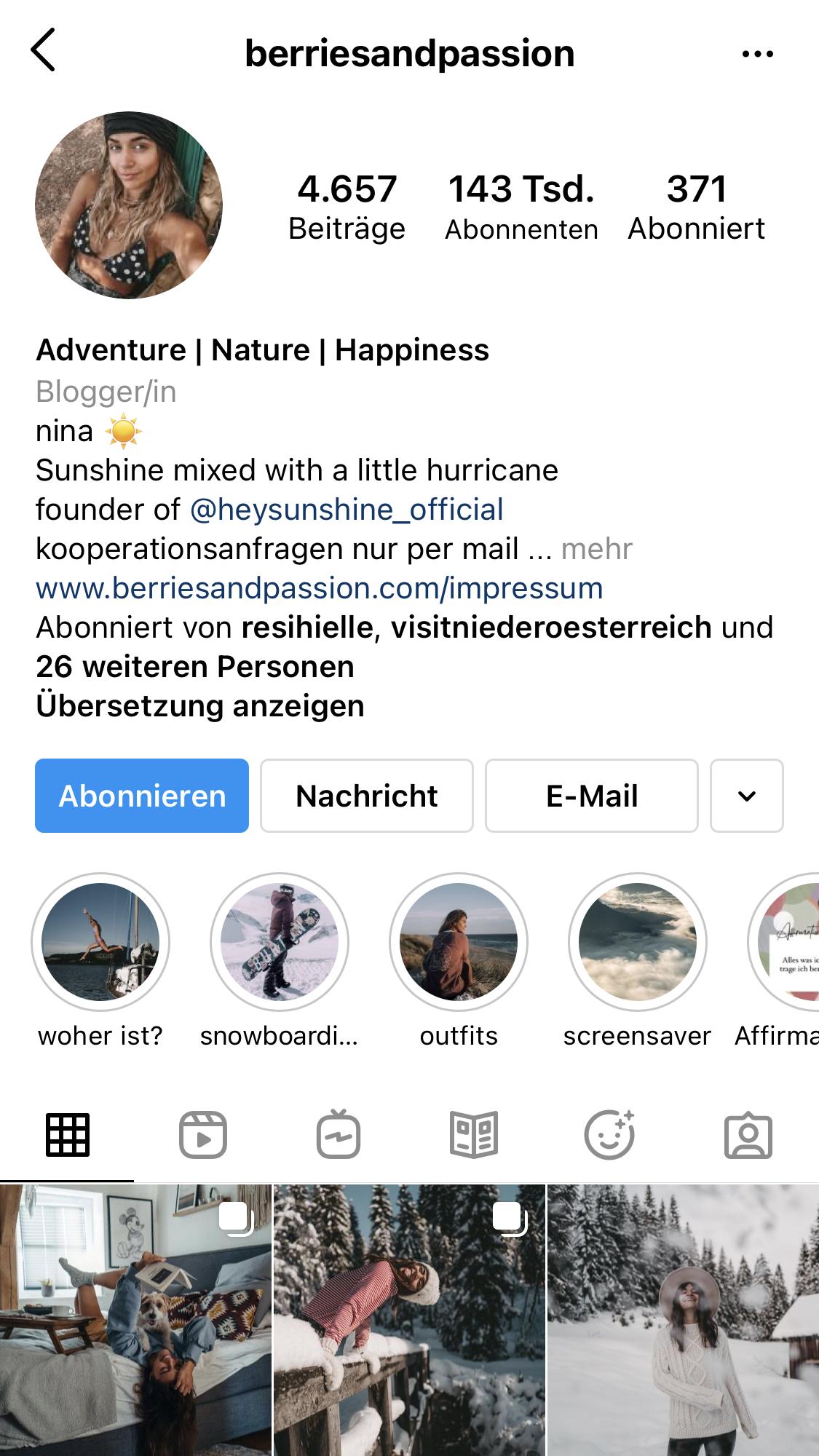 Berries and Passion - Instagram Account Sreenshot