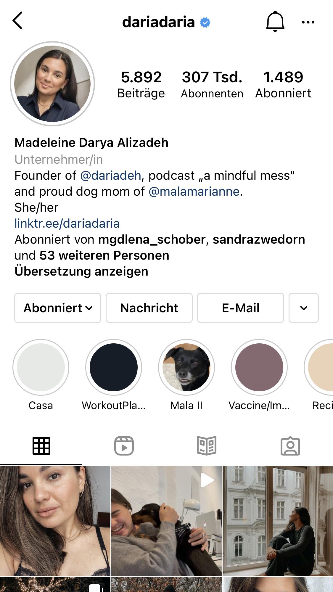 DariaDaria Instagram Account Screenshot