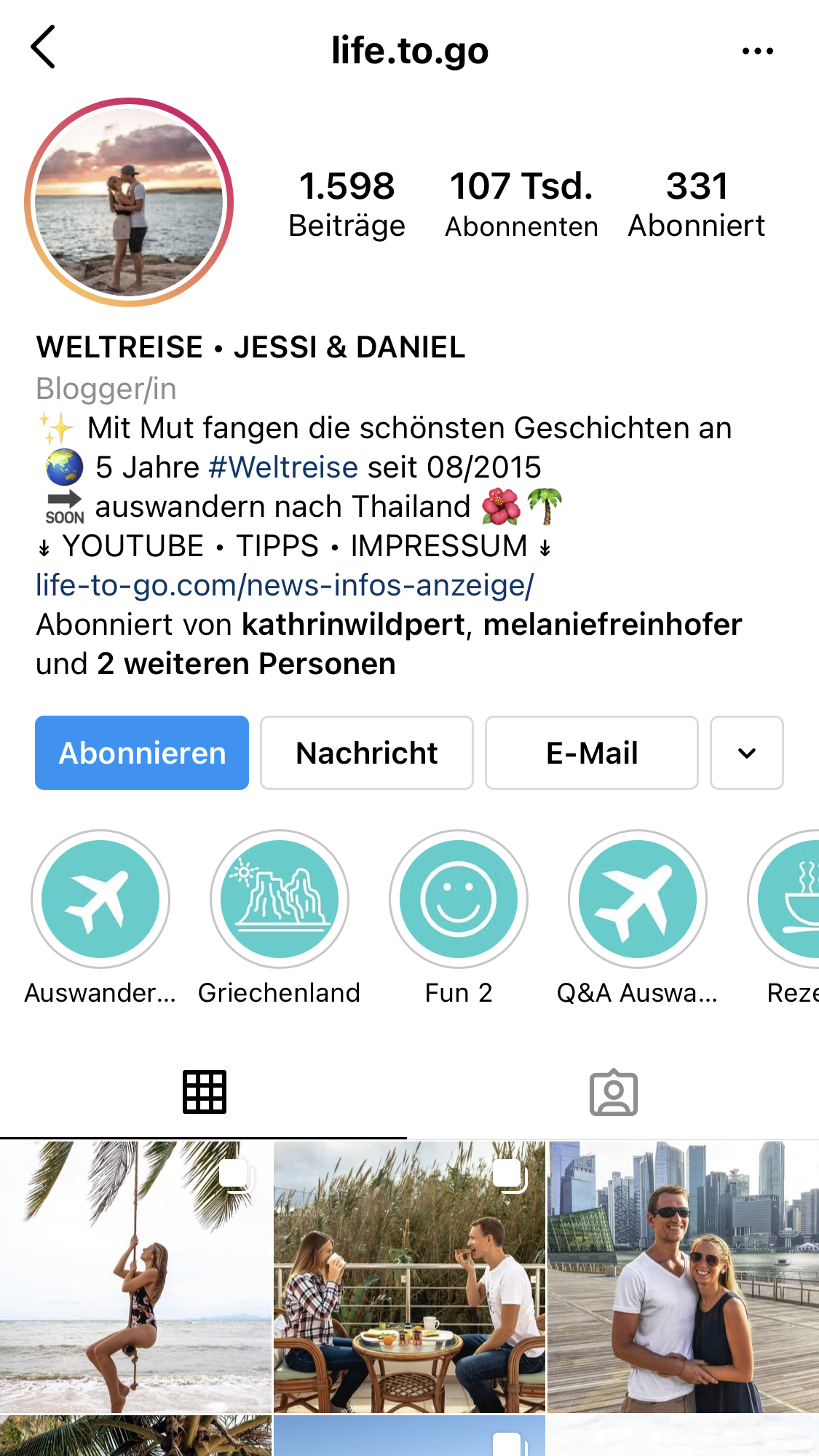 life.to.go Instagram Account Screenshot